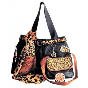 Black Leather Tote Travel Set Leopard XXL MOM GIFT